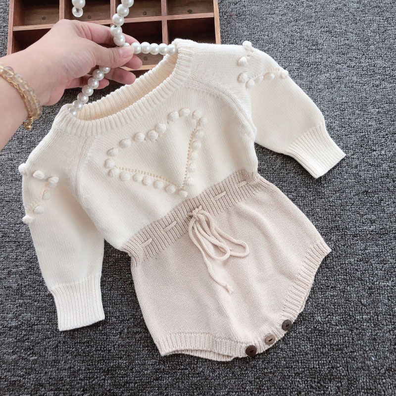 Autumn Baby Girls Clothes set Baby knitted Romper Set Infant Newborn Baby Girl Cardigan Boys Sweater Cotton Baby Jumpsuit