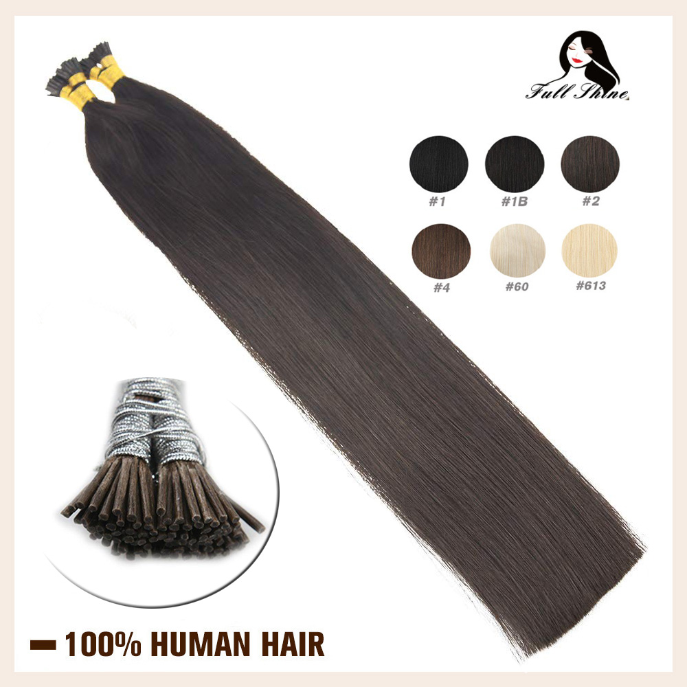 Full Shine I Tip Hair Extensions Pure Colored Fusion Hair Machine Remy Human Hair 40 Grams Pre Bonded Extensions I Tip Hair