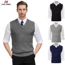 PAUL JONES Men's V Neck Sleeveless Knitwear Vest Cable Knitted Pullover Vest Solid Color Slim Fit Classic Jumper Sweater PJ0177