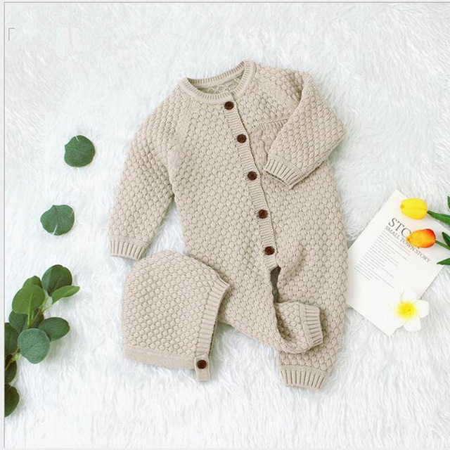 0-24M Baby Romper Winter Clothes Knitted Warm Romper With Hat Infant Toddler Jumpsuit Newborn Girl Boy Clothes 2019 Brand New