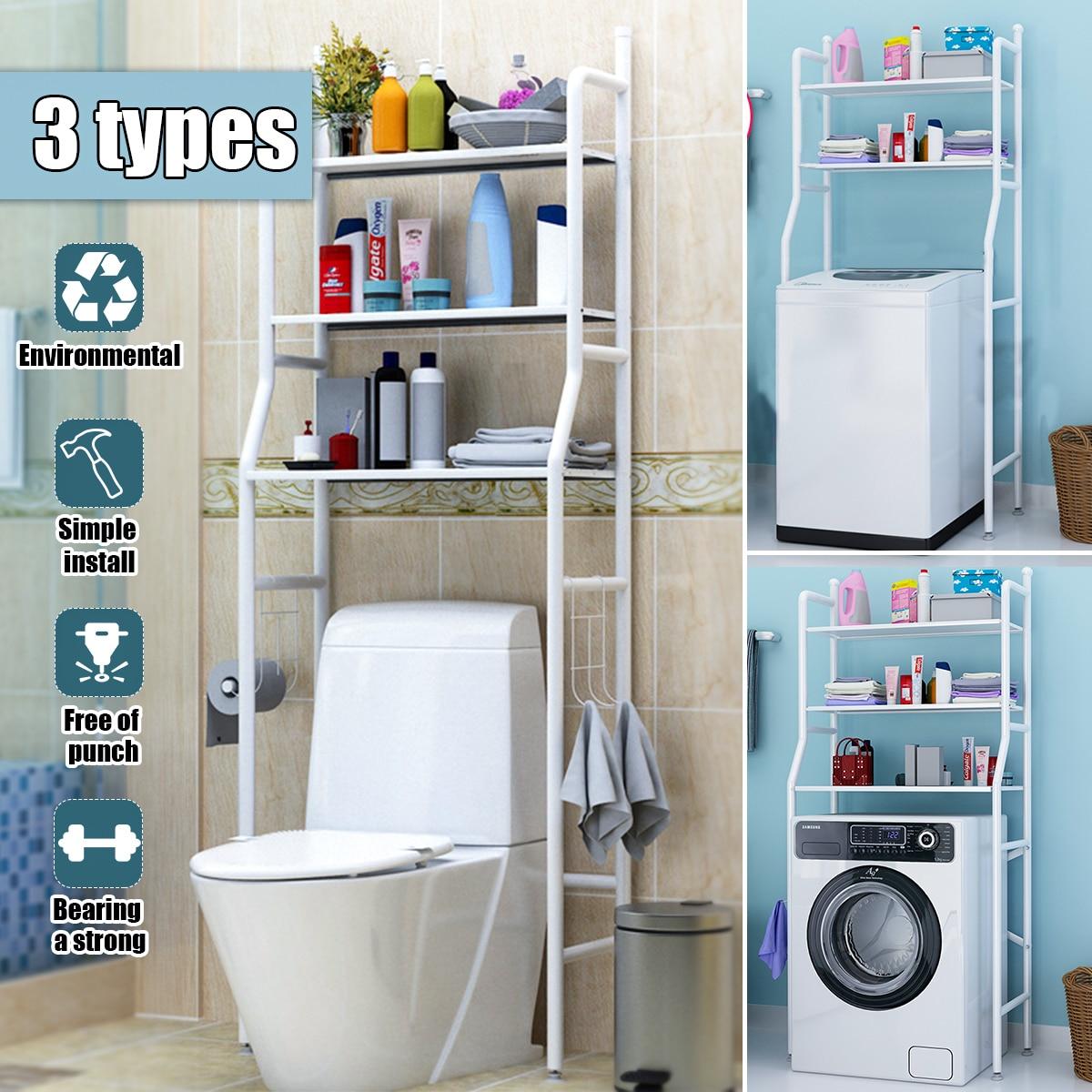 Étagère de rangement de salle de bain sur toilette avec porte-rouleau et crochets cuisine Machine à laver support salle de bain économiseur d'espace support organisateur