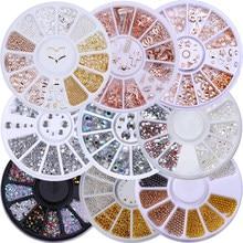 Saint valentin couleur mixte caméléon pierre ongles strass petites perles irrégulières 3D Nail Art décoration dans les accessoires de roue