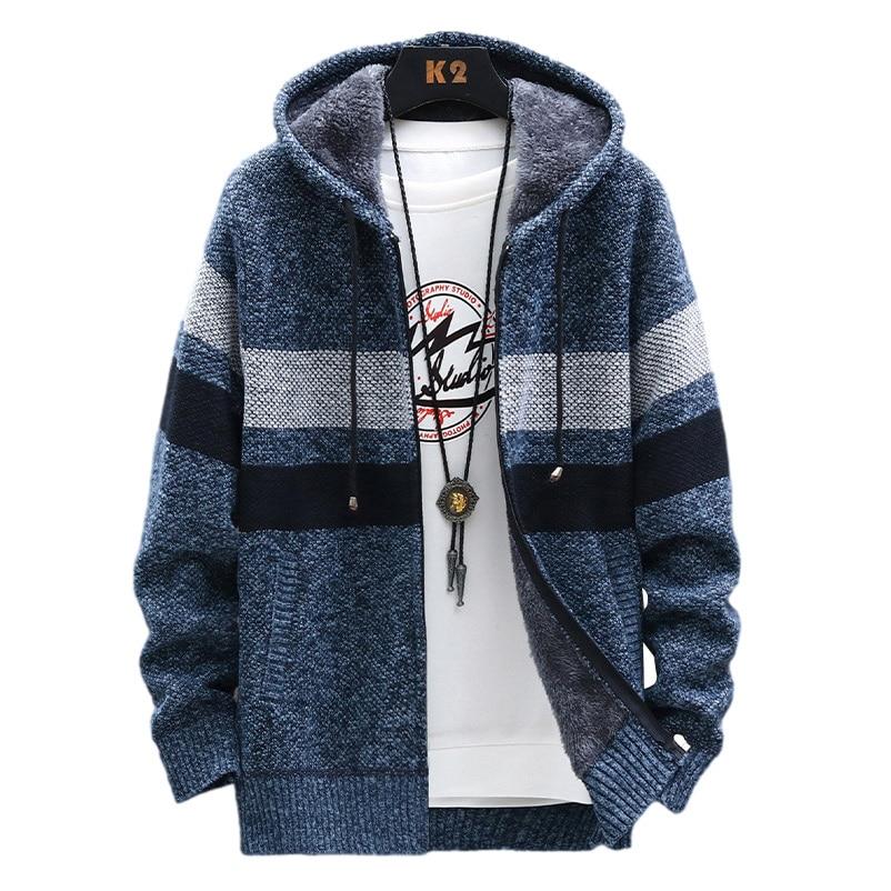Флисовый теплый свитер, мужской зимний Кардиган с капюшоном, мужские полосатые приталенные свитера, пальто в стиле пэчворк, Вязаная мужская...