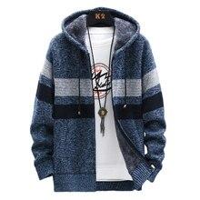 Fleece Warm Sweater Men Winter Hooded Cardigan Mens Striped Slim Sweaters Patchwork Coat Knitted Men's Hoodie Jumper Clothing