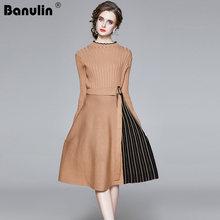 Элегантный вязаный свитер плиссированное платье Осень зима длинный