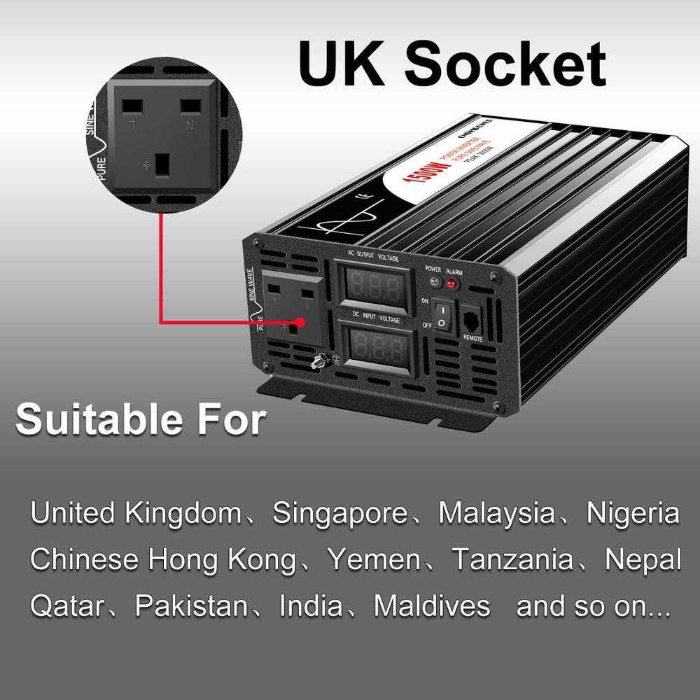 Clearance SaleSolar-Power-Inverter Remote-Control Sine-Wave 1500w Pure 220V 12v 24v DC 110V AC 48V