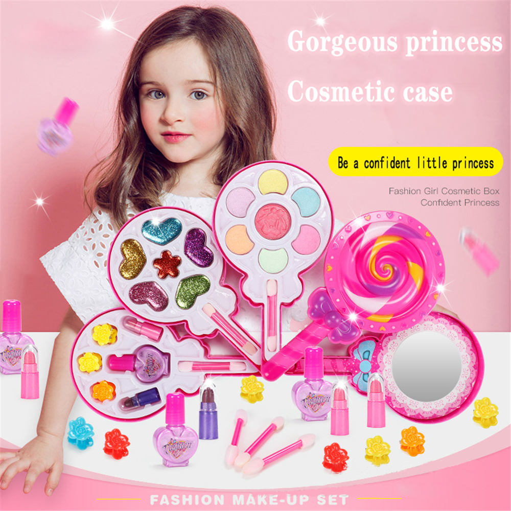 Children Make Toy Set Game Princess Pink Makeup Safety Non-toxic For Girl Dress Up Cosmetics Kit Preschool Beauty Makeup Game