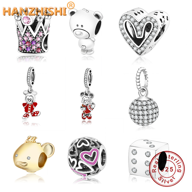 Fit Original Pandora Charms Bracelet 925 Silver Beads Charms European Crown Beads With Colorful Zircon DIY Jewelry Gift Berloque(China)