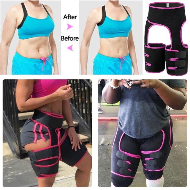 Women Neoprene Waist Trainer Sweat Shapewear Slim Belt Thigh Trimmer Leg Shapers Slender Toned Muscles Band Thigh Slimmer Wrap 5