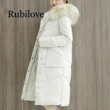Rubilove Fashion women 2019 Real New Length Thickening Warm Winter Coat Jacket Down Parka Women Big Fur