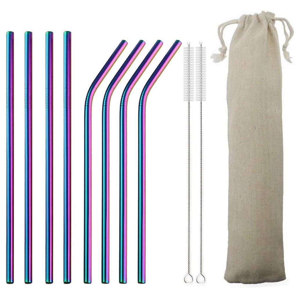 Ensemble de paille réutilisable en acier inoxydable 18/10, paille colorée en métal de haute qualité, avec brosse nettoyante, accessoire de fête