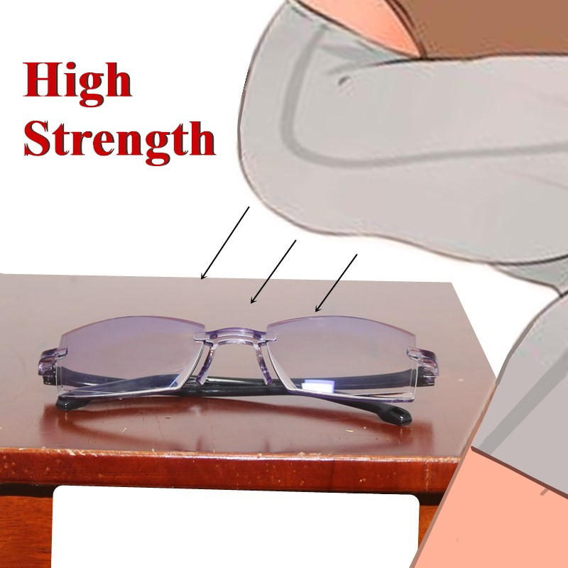 Diamond Cutting Finished Bifocal Reading Glasses Men Anti Blue Tr90 Temple Rimless Square Presbyopia Glasses High Strength PC