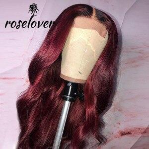 Image 4 - 13*6 実体波 1b/99J 色のレースのフロント人間の髪かつら女性のためのオンブルバーガンディレースフロントウィッグかつら事前摘み取らブラジルの remy 毛