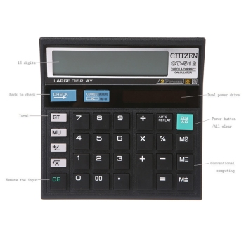 12-Digit Solar Battery Dual Power Large Display Office Desktop Calculator CT-512 K9FC