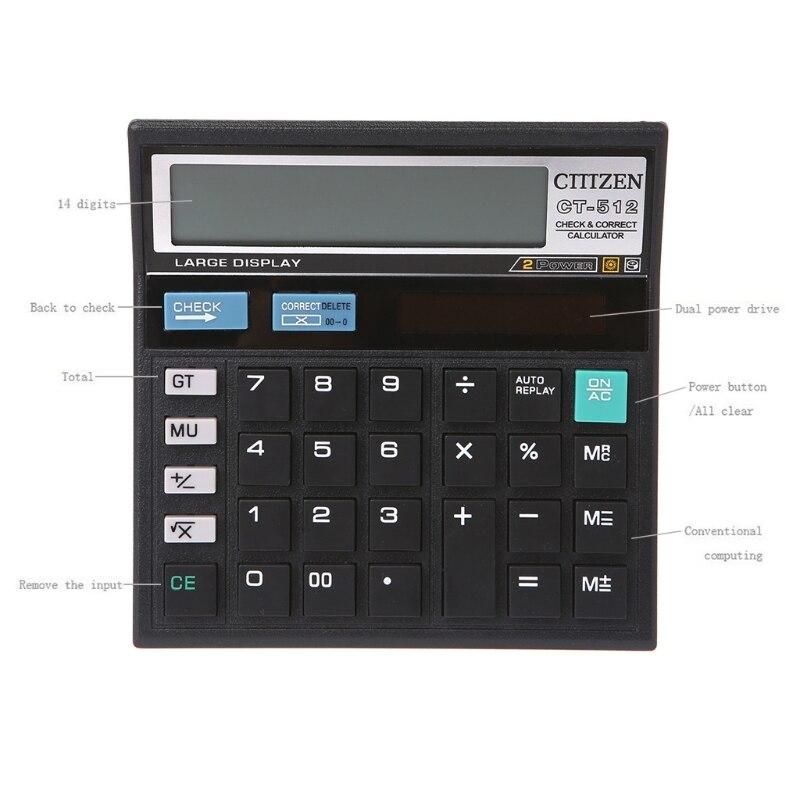 12 dígitos bateria solar de energia dupla grande exibição escritório desktop calculadora CT-512 dropshipping atacado