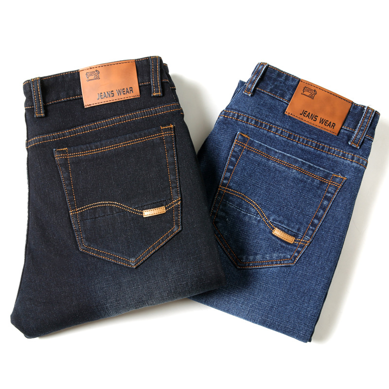 Hot Selling Jeans Men's Classic Men's Daddy Clothes Young And Middle-aged Men Work Jeans Elasticity Slim Fit Pants