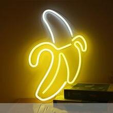 Banana néon luz de parede pendurado sinal olá boas vibrações led luzes néon alimentado por usb quarto festa decoração para casa presente natal