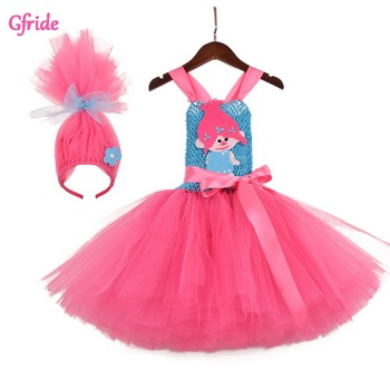 Toddler Girls Troll Costume Tutu Tulle Dress with headband Kids Halloween Cosplay Girl Festival Birthday Party Cartoon Dress glittery unicorn princess pageant flower girl tutu dress kids party costume with headband and wings halloween cosplay girl dress