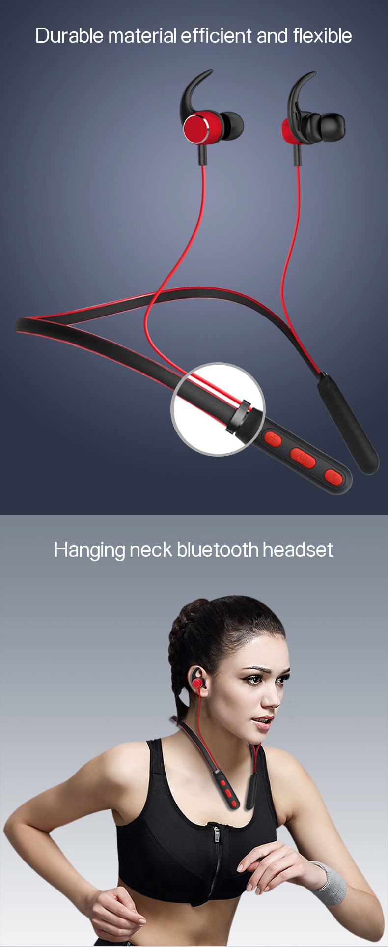 Caridite Popular Neck Bluetooth Earphone Ture Stereo Wireless Fitness Headset Tiktok Gril Gift Sport Neckband Headphone Earphone