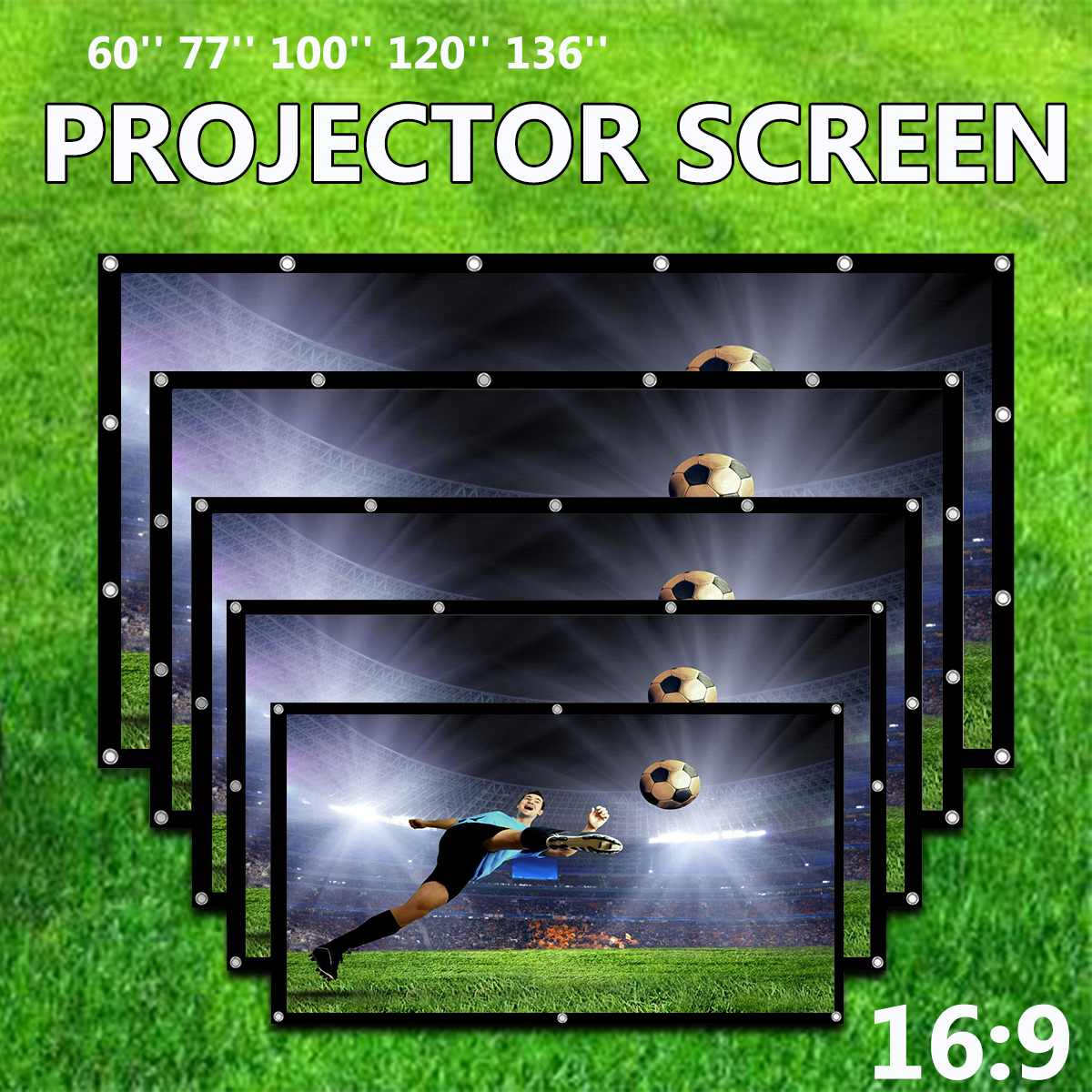 60/77/100/120/136 Inch 16:9 Portable Projector Screen Foldable Projection Screen Front Rear Home Theater Movie Projector Screen