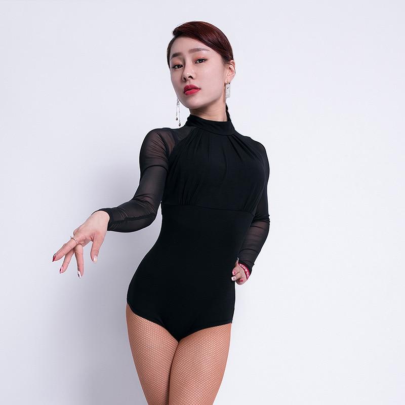 Fashion Latin Dance Top Women Ballroom Practice Wear Tango Salsa Cha Cha Samba Rumba Bodysuit Stage Performance Outfit DF1580