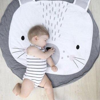 פעוט ילדים זחילה שמיכת שטיח עגול שטיח צעצועי מחצלת כותנה ילדי חדר תפאורה תמונה אבזרי חיות מצוירות תינוק לשחק מחצלת כרית
