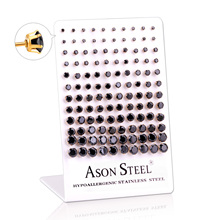 LUXU KISSKIDS 60 paris/lot siyah/beyaz zirkon yuvarlak çocuklar kadınlar için damızlık küpe paslanmaz çelik küpe pendientes takı
