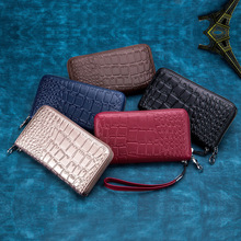 New Long Wallet Crocodile Women Wallets Genuine Leather Fashion Purse Clutch Wallets Zipper Card Holder Wallet Coin Bags wilicosh classic crocodile pattern wallets cowhide leather long design women wallet genuine leather japan purse clutch wl425