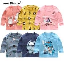 От 6 месяцев до 6 лет Весенние футболки унисекс детская одежда из хлопка с длинными рукавами и круглым вырезом для мальчиков и девочек рубашки для маленьких девочек удобные футболки для малышей