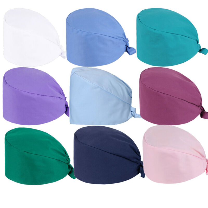 Solid Color Pharmacy Cap Nurse Doctor Surgical Hospital Adjustable Medical Surgery Caps Scrub Lab Casual Dental Operation Hat