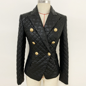 Image 2 - HIGH QUALITY 2020 New Stylish Designer Blazer Womens Lion Buttons Grid Cotton Padded Slim Fitting Synthetic Leather Jacket