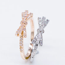2019 New Fashion Literary Diamond-encrusted Bow Ring Creative Design Simple Stripe Ring Student Jewelry Gift Drop Shipping(China)