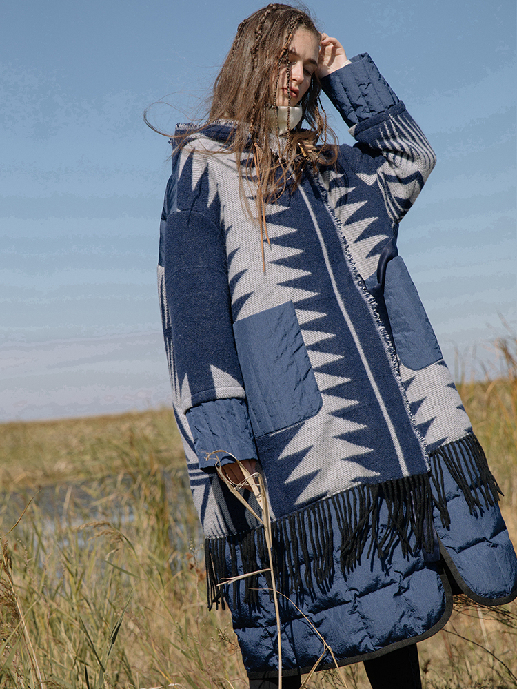 Original Design Women Puffer Coat Winter Indian Totem Pattern Tassel Thicken Warm Jacquard Wool Patchwork White Duck Down Jacket