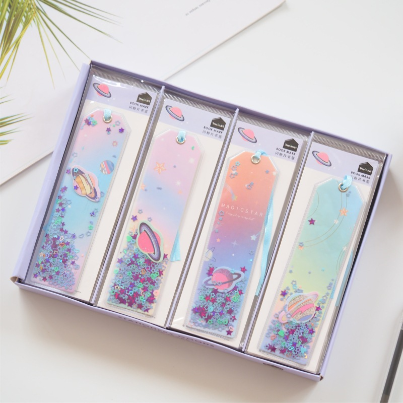 Cute Kawaii Creative Glitter Sequins Stars Bookmark Office School Index Bookmarks For Note Books Stationery Supplies
