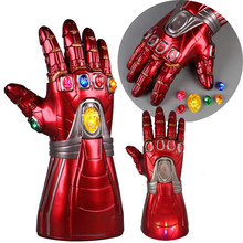 Dla dorosłych dzieci Avengers końcówki IronMan bez krawędzi rękawica kamienie odpinany Led Light Cosplay Thanos lateksowe rękawice superbohatera broń(China)