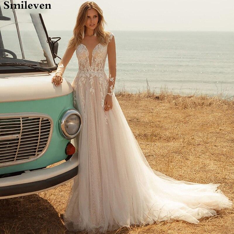 Smileven Princess Wedding Dress Long Sleeve Lace Bride Dresses Appliqued Boho Wedding Gowns Vestido De Noiva