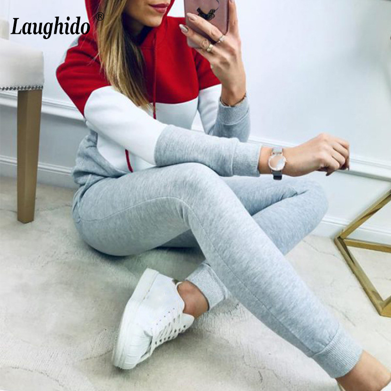 Laughido Plus Size Women Tracksuit Set Long Sleeve With Hat Tops Slim Pants 2 Piece Set Workout Sporty Suit Set Sweatwear Female