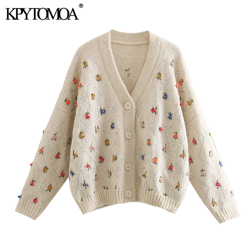 빈티지 세련된 스팽글 아플리케 자수 니트 카디건 여성 2020 패션 V 넥 긴 소매 여성 겉옷 세련된상의
