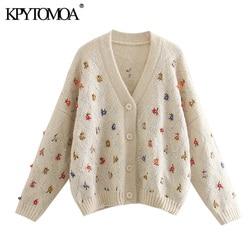 Vintage elegante lantejoulas apliques bordados de malha cardigan feminino 2020 moda v pescoço manga longa feminino outerwear chique topos