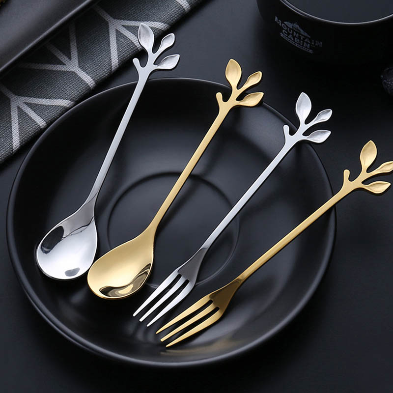1Pcs Mini Dessert Fork Tableware Gift Exquisite Branch Shape Royal Style Small Coffee Spoon Vintage Kitchen Flatware