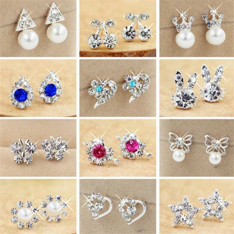Rhinestone Pearl Stud Earring For Woman Cute Bow/Heart-shaped/Flower/Star Simple Small Earring Fashion Party Jewelry Gift Girls