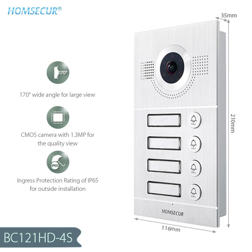 HOMSECUR Waterproof 170° BC121HD-4S Outdoor Unit For HDK 4-Apartment Video Door Phone Set
