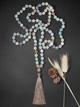 Oaiite 108 mala grânulo fosco amazonite com tassel colar mulheres yoga meditação colar
