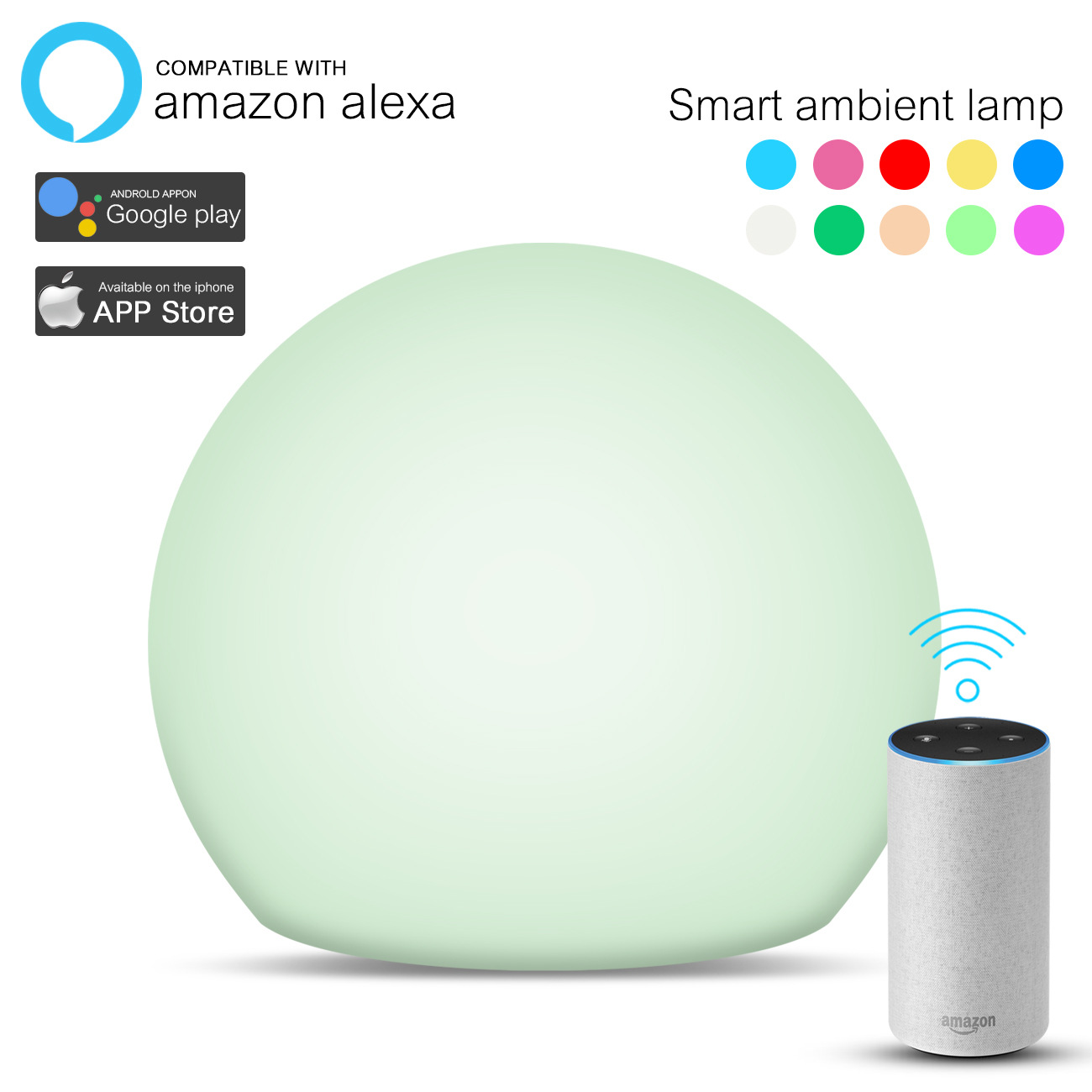Smart Home Smart Table Night  Lamp Seven Color Ambient Light With Musical For Amazon Alexa For Birthday Party Gift Home Decor