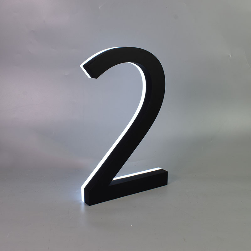 Metal 3D Led House Numbers Light Outdoor Waterproof Home Hotel Door Plates Stainless Steel Illumilous Lettre Sign Address Diy
