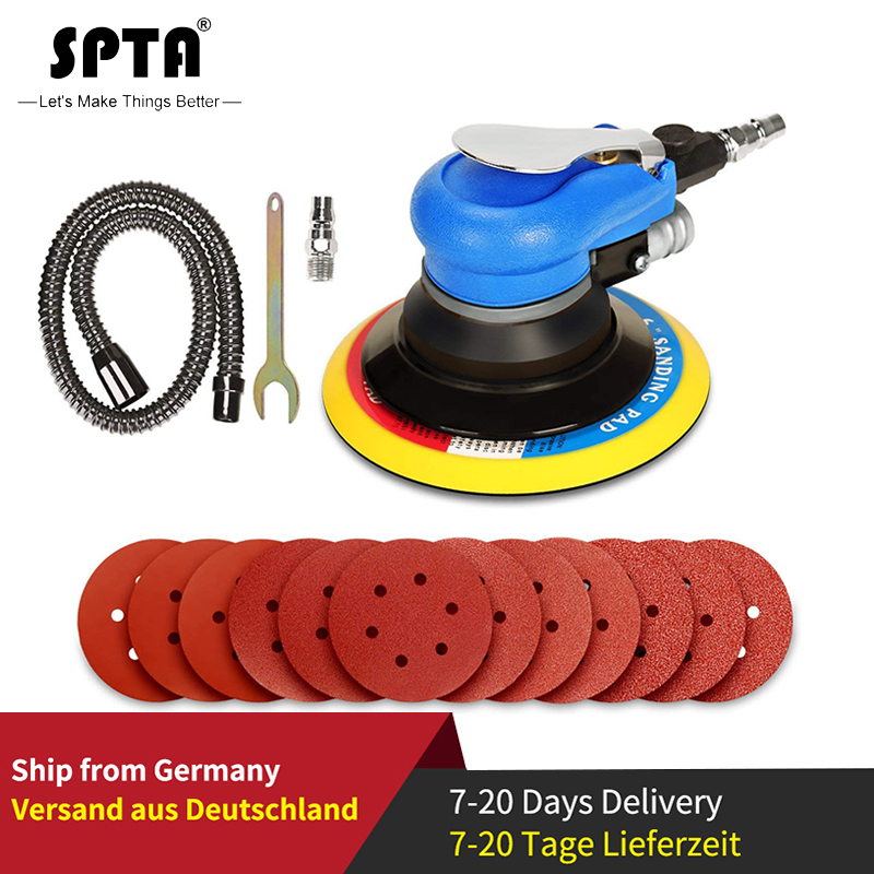 SPTA 6Inch Air Random Orbital Dual Action Sander Orbit Polisher Sanding Grinding Tools Pneumatic With Sanding Discs Paper Pad