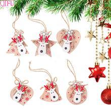 QIFU 3pcs/lot Wooden Christmas Ornaments Tree Decorations Elk Deer Head Santa Claus  2019 Noel