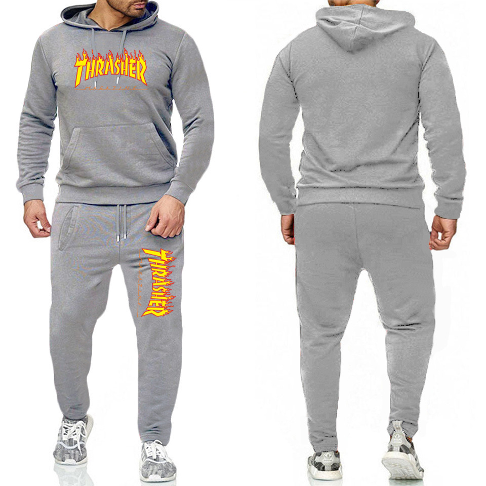 New Style Spring And Autumn Clothes Thrasher Flame Men Hoodie Set Couple's