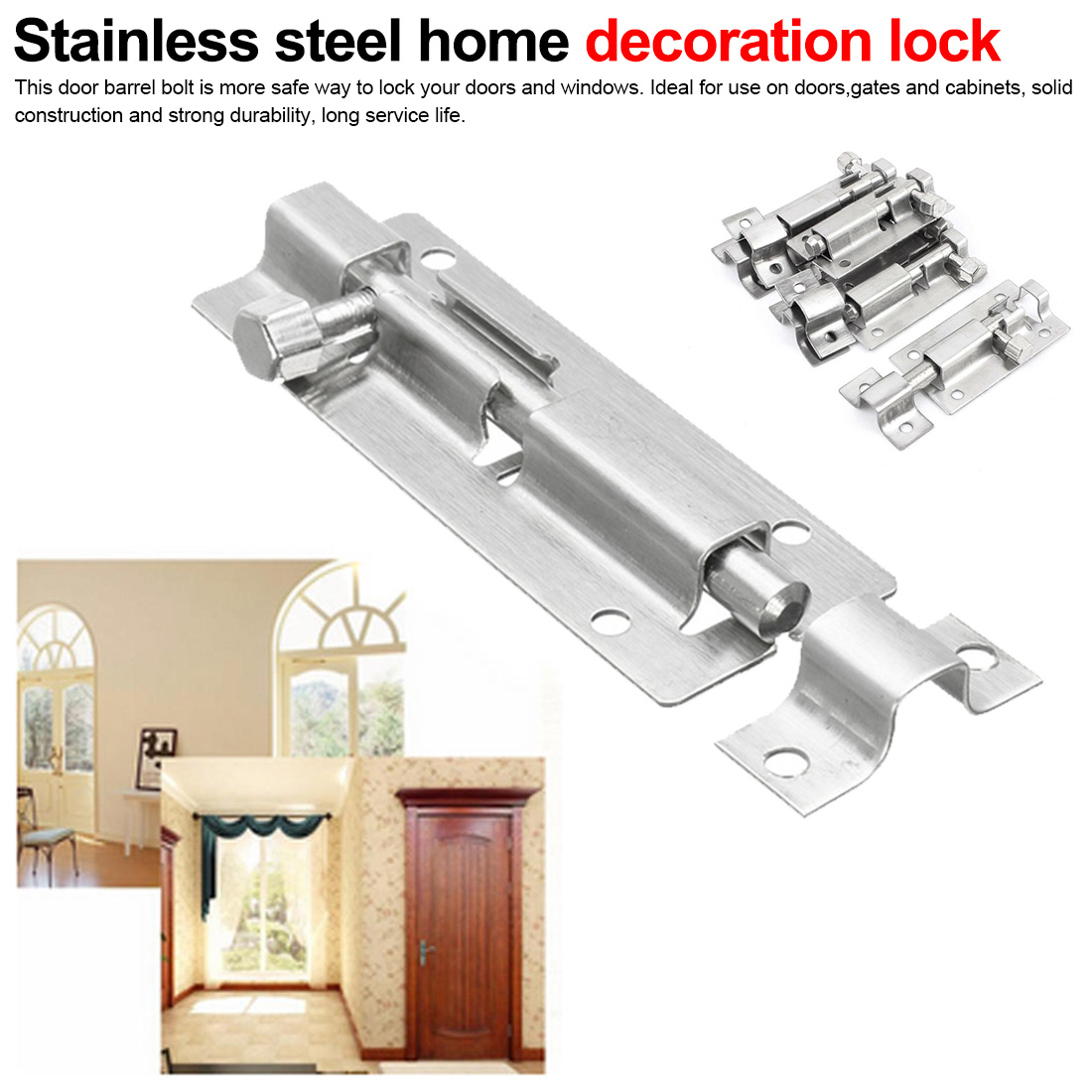 1.5/2/3/4/6/8/10/12 Inch Long Silver Stainless Steel Home decoration door window <font><b>latch</b></font> Sliding Lock <font><b>Barrel</b></font> <font><b>Bolt</b></font> <font><b>Latch</b></font> image