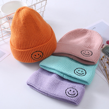 Popular Candy Color Children Warm Knit Hats Embroidery Smiley Hat Crochet Soft Elasticity Wool Baby Cap Boy Girl 1PC